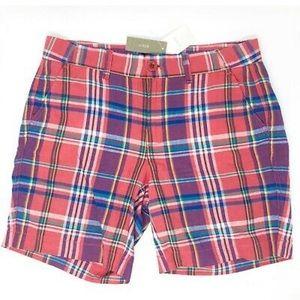 J Crew Sunday Slim Madras Shorts Sz 4